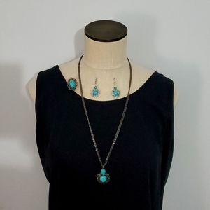 3pc Turquoise Jewelery Set-Necklace,Earring,Ring